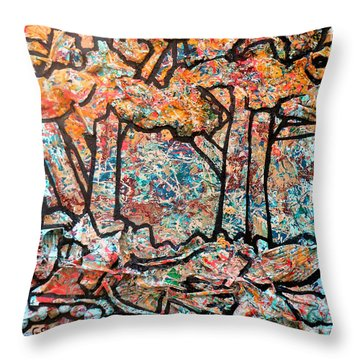 Throw Pillow featuring the mixed media Rhythm Of The Forest by Genevieve Esson