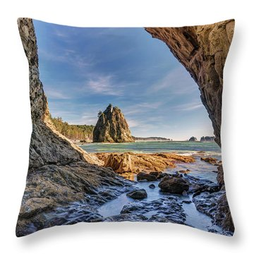 Throw Pillow featuring the photograph Rialto Beach Sea Arch by Pierre Leclerc Photography