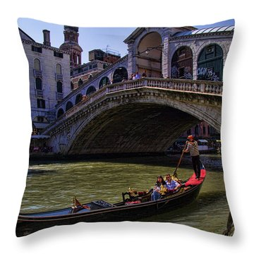 Rialto Bridge In Venice Italy Throw Pillow by David Smith