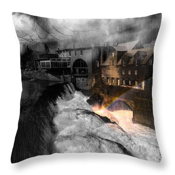 Rainbow In The Mist Throw Pillow by Sherman Perry