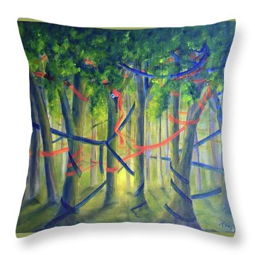 Ribbon Dance Throw Pillow
