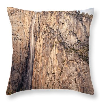 Ribbon Falls At Yosemite National Park - Sierra Nevada Mountains California Throw Pillow