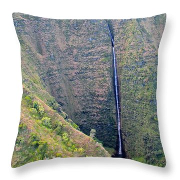 Throw Pillow featuring the photograph Ribbon Falls On The Napali Coast by Brenda Pressnall