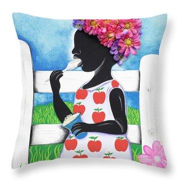 Rice Cream Girl Throw Pillow