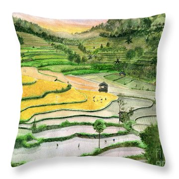 Ricefield Terrace II Throw Pillow