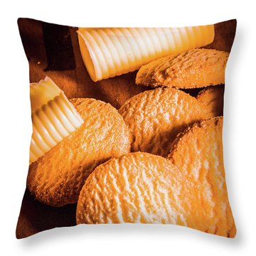 Rich Buttery Shortbread Biscuits Throw Pillow