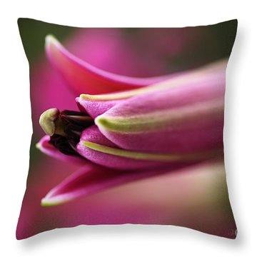 Rich Pink Lily Bud Throw Pillow