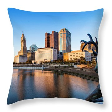 Rich Street Bridge Columbus Throw Pillow by Alan Raasch