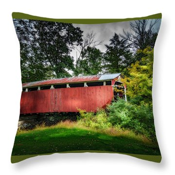 Throw Pillow featuring the photograph Richards Covered Bridge by Marvin Spates