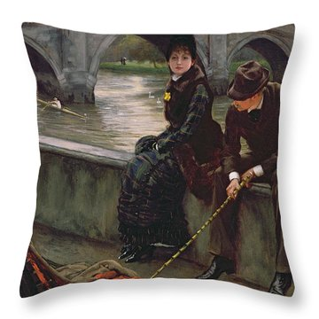Richmond Bridge Throw Pillow by James Jacques Joseph Tissot