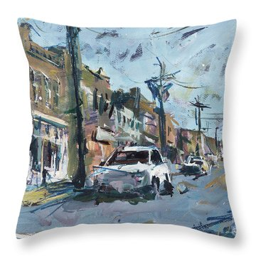 Richmond Cityscape Painting - Carytown Throw Pillow