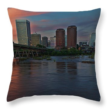 Richmond Dusk Skyline Throw Pillow