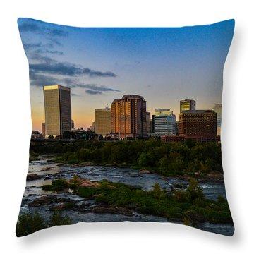Richmond Skyline At Dusk Throw Pillow