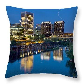 Richmond Skyline Helo Trail Throw Pillow