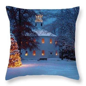 Richmond Vermont Round Church At Christmas Throw Pillow
