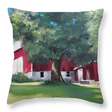 Throw Pillow featuring the painting Rich's Barn by Carol Hart