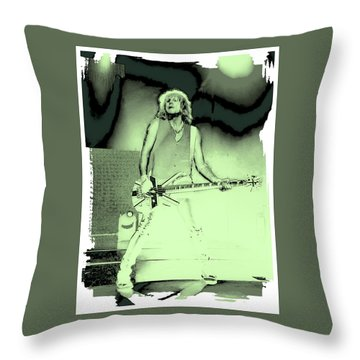 Rick Savage - Def Leppard Throw Pillow by David Patterson