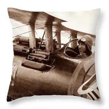 Rickenbacker And His Spad Xiii 1918 Throw Pillow