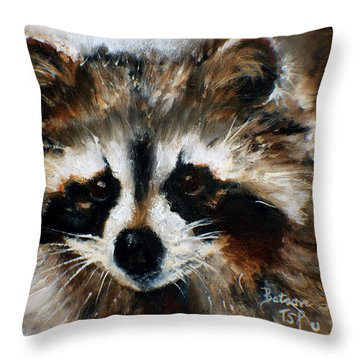 Rickey Raccoon Throw Pillow