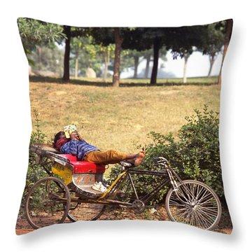 Rickshaw Rider Relaxing Throw Pillow