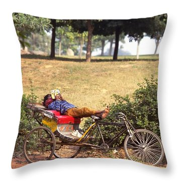 Rickshaw Rider Relaxing Throw Pillow