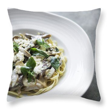 Ricotta Mushroom And Basil Pasta Throw Pillow