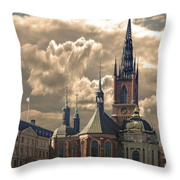 Throw Pillow featuring the photograph Riddarholm Church - Stockholm by Jeff Burgess
