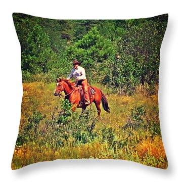 Ridding Free Throw Pillow