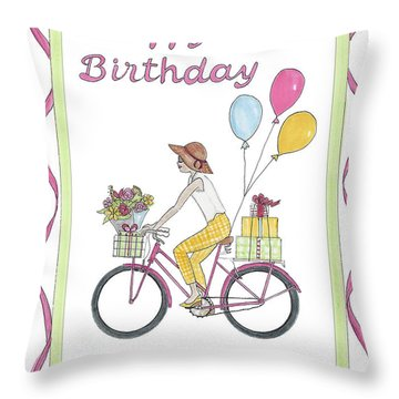 Ride In Style - Happy Birthday Throw Pillow