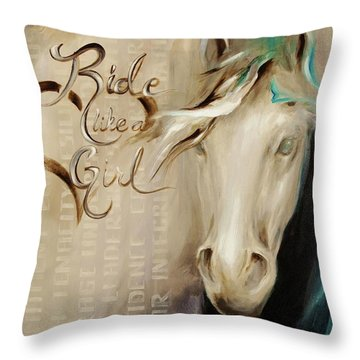 Ride Like A Girl 16x20 Throw Pillow