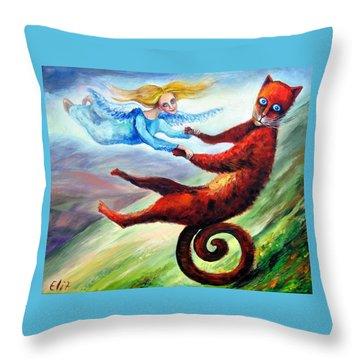 Ride The Tail Throw Pillow by Elisheva Nesis