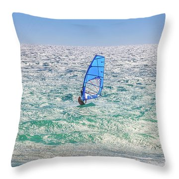 Ride The Waves, Scarborough Beach Throw Pillow by Dave Catley