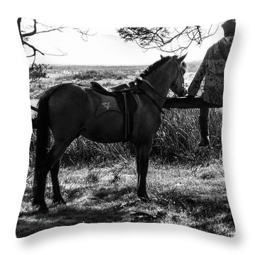 Throw Pillow featuring the photograph Rider And Horse Taking Break by Pradeep Raja Prints