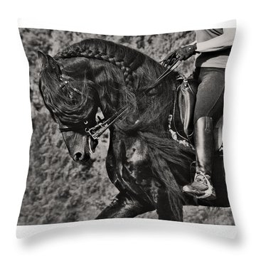 Throw Pillow featuring the photograph Rider And Steed Dance D6032 by Wes and Dotty Weber