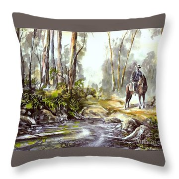 Rider By The Creek Throw Pillow