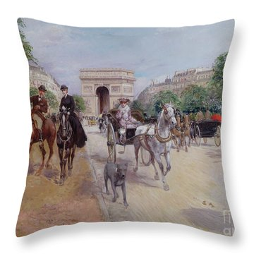Riders And Carriages On The Avenue Du Bois Throw Pillow
