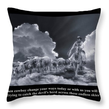Riders In The Sky Bw Throw Pillow
