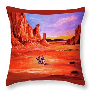 Riders In The Valley Of The Giants Throw Pillow