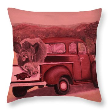 Ridin' With Razorbacks 3 Throw Pillow by Belinda Nagy