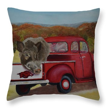 Ridin' With Razorbacks Throw Pillow by Belinda Nagy