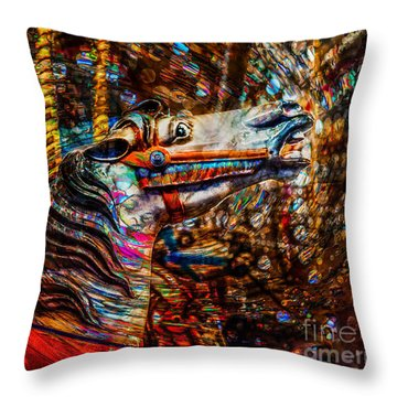 Throw Pillow featuring the photograph Riding A Carousel In My Colorful Dream by Michael Arend