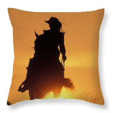 Riding Cowgirl Sunset Throw Pillow