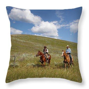 Riding Fences Throw Pillow