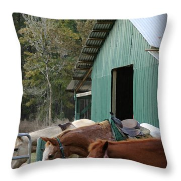 Throw Pillow featuring the digital art Riding Horses by Kim Henderson