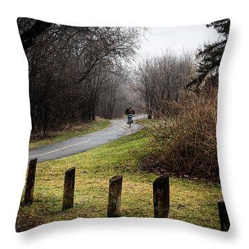 Riding Into The Fog Throw Pillow