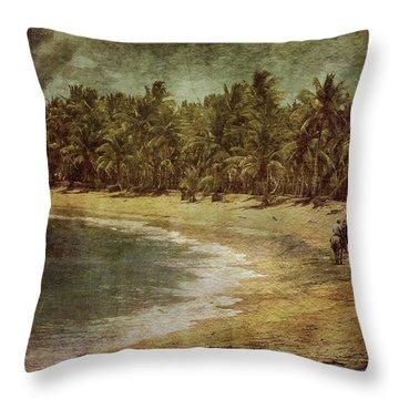 Riding On The Beach Throw Pillow