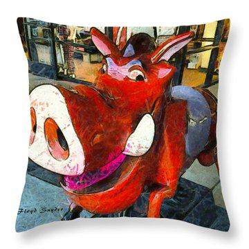 Throw Pillow featuring the photograph Riding Pig Of Pismo Beach by Floyd Snyder