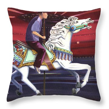 Riding The Carousel Throw Pillow