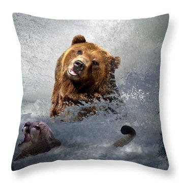 Riding The Gauntlet Throw Pillow by Bill Stephens