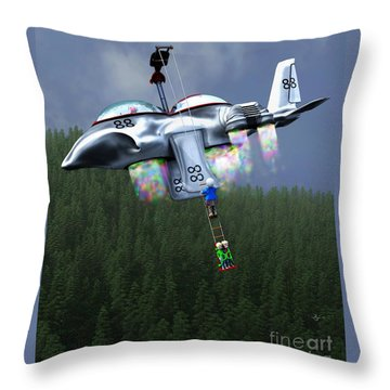 Throw Pillow featuring the painting Riding The Lift by Dave Luebbert